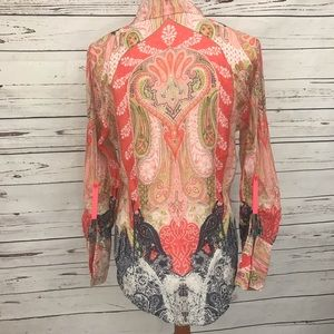 Tahari Tops - Tahari Button Down Long Sleeve Boho Blouse Medium
